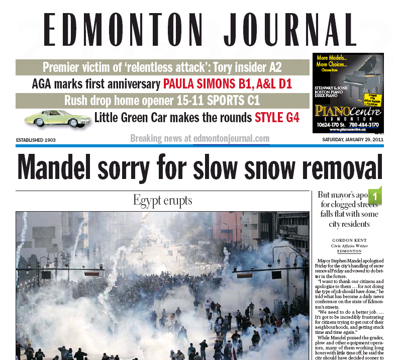 Edmonton Journal, January 29, 2011